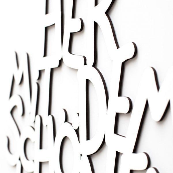 Her mit dem schönen Leben 3D geschnittene Buchstaben