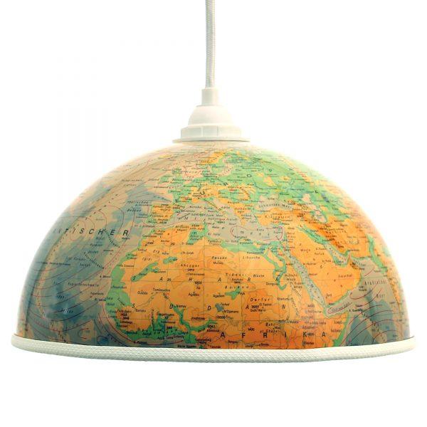 Globuslampe Totalansicht mit weißem Textilkabel