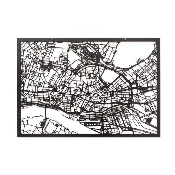 3D Stadtplan Hamburg schwarz