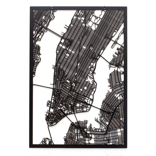 3D Stadtplan Manhattan, New York schwarz