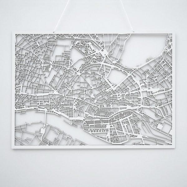 3D Stadtplan Hamburg weiß
