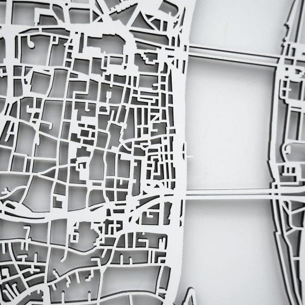 3D Stadtplan Köln weiß